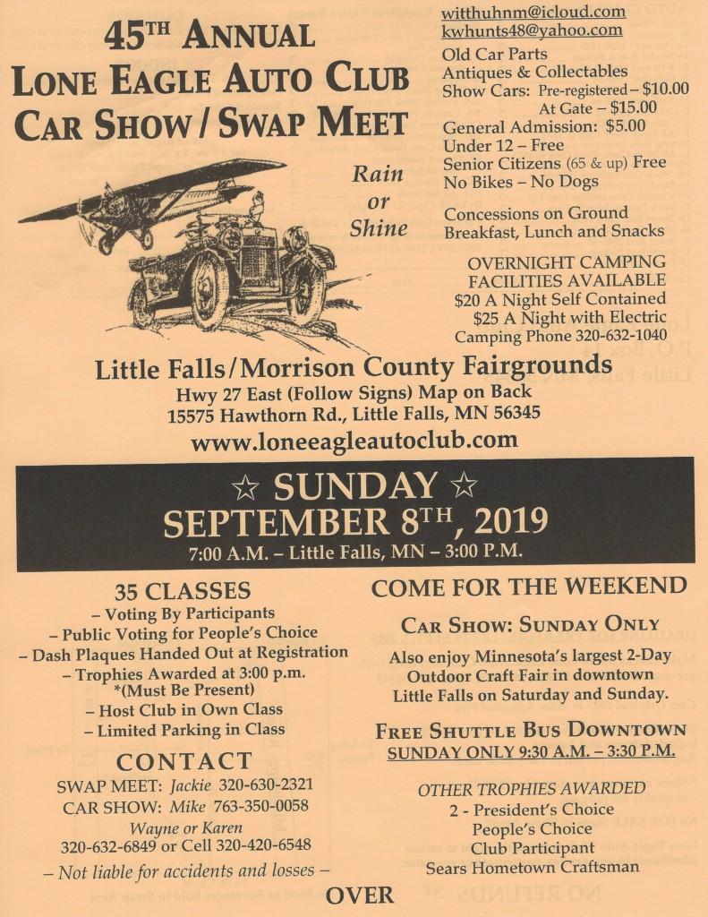 45th Annual Lone Eagle Auto Club Car Show / Swap Meet