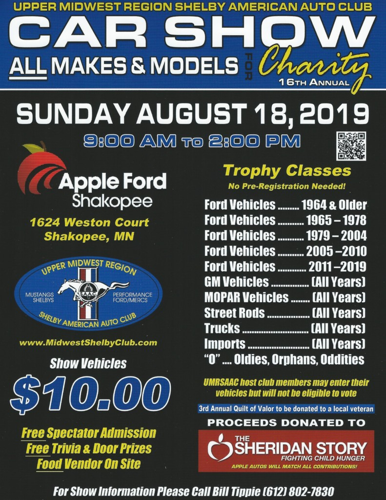 Upper Midwest Shelby American 16th Annual All Makes and Models Car Show