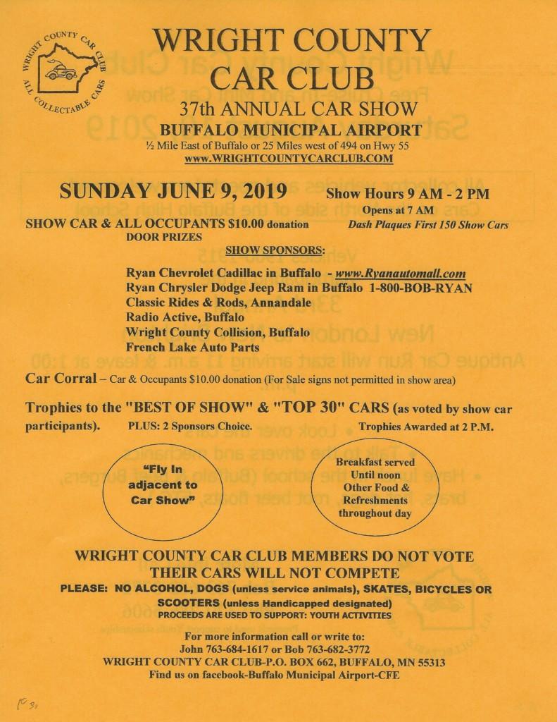 WRIGHT COUNTY CAR CLUB 37th  Annual Car Show